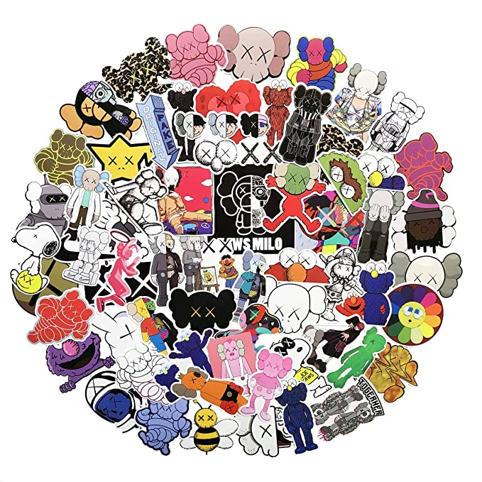 65 Pcs Fashion Brand Stickers For Laptop Stickers Motorcycle Bicycle Skateboard Luggage Decal Graffiti Patches Stickers For [No Duplicate Sticker Pack] (Kaws) by Zuiyijiangnan