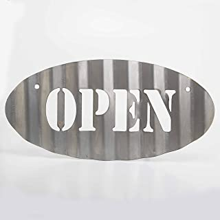 product image for Oval Open or Closed Sign Vintage Plasma Cut Corrugated Steel Hand Restroom Sign Rustic Metal Sign Restaurant Home Shop Wall Bathroom Sign (1, OPEN & CLOSED)