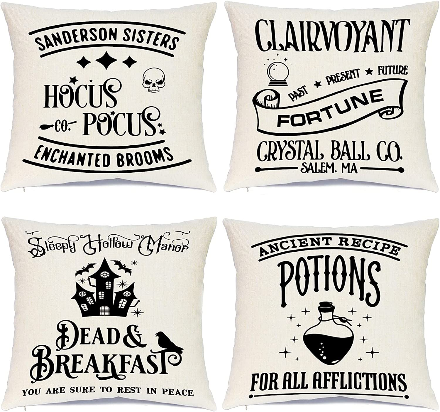 Sadaunbe Halloween Throw Pillow Covers Set of 4 Hocus Pocus Clairvoyant Witch Potions Decorative Pillow Covers for Halloween Indoor Outdoor Sofa Cushion Office Decor, 18 x 18 Inches