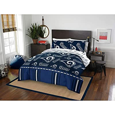 MISC 5 Piece LA Rams Comforter & Sheets Set Full Queen, Football Sports Bedding for Boys Kids Bedroom Team Logo Printed Collegiate Pattern Home Decor Game Fans Gift Super Soft Cozy Quality Polyester: Home & Kitchen