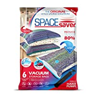 6 bolsas de almacenamiento al vacío de alta calidad SpaceSaver, paquete variado (2 pequeñas, 2 medianas, 2 grandes), 80% más de almacenamiento que con otras marcas Bomba de mano gratis para viajes.