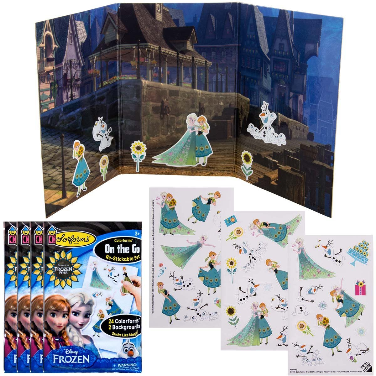 Colorforms 4 Pack 26 Piece Sets Magic On The Go Frozen Restickable Stickers for Kids Boys Girls