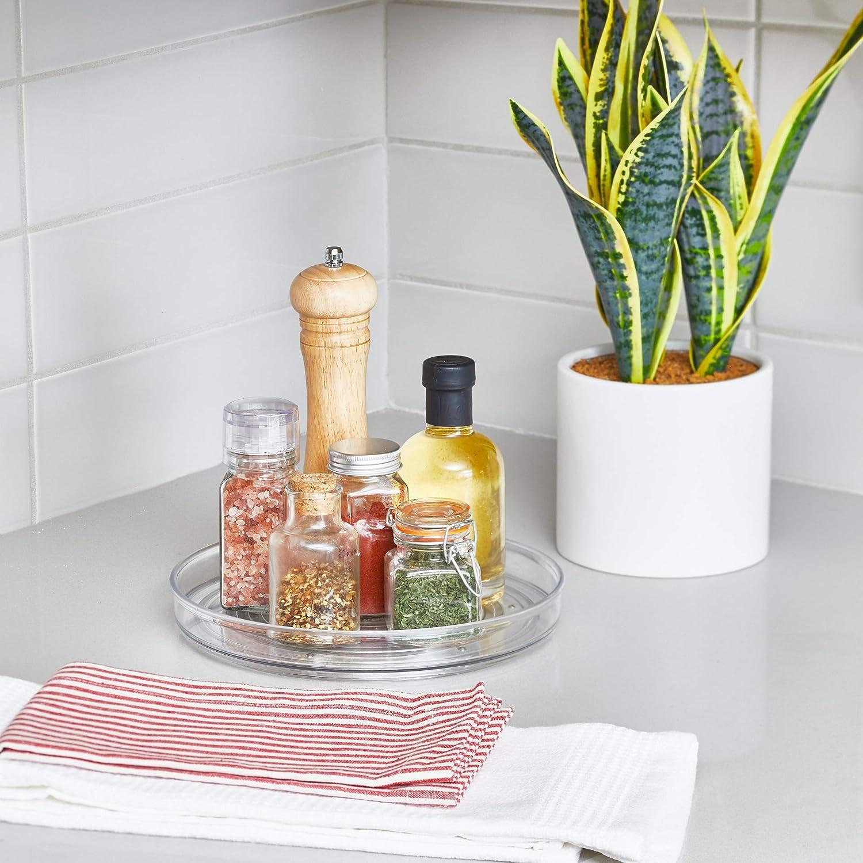 peque/ño organizador de armarios de pl/ástico libre de BPA transparente iDesign Plato giratorio para la cocina especiero giratorio para guardar especias y tarros en la despensa