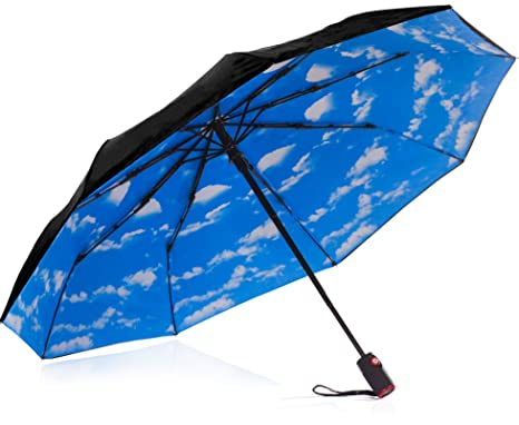 07c532e22 IHOR Best Automatic Small Compact Windproof Totes Wind-Resistant Portable  Black Travel Umbrella Blue Sky