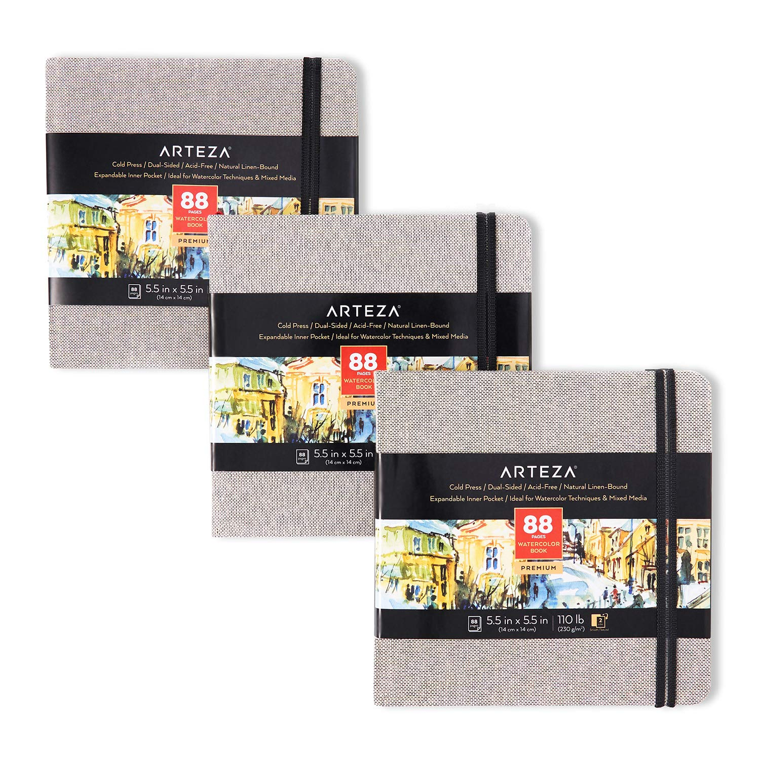 Arteza Watercolor Sketchbooks, 5.5x5.5-inch, 3-Pack, 132 Sheets, Gray Art Journal, Hardcover 110lb Paper Book, Art…