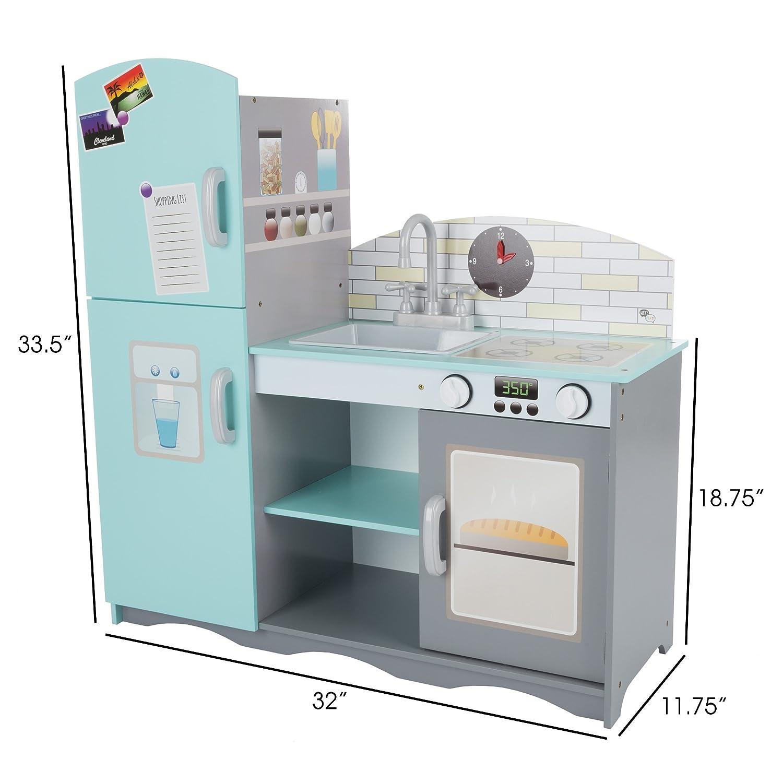 Amazon.com: TMG Deluxe Wooden Kitchen Play Set - Includes Fridge ...