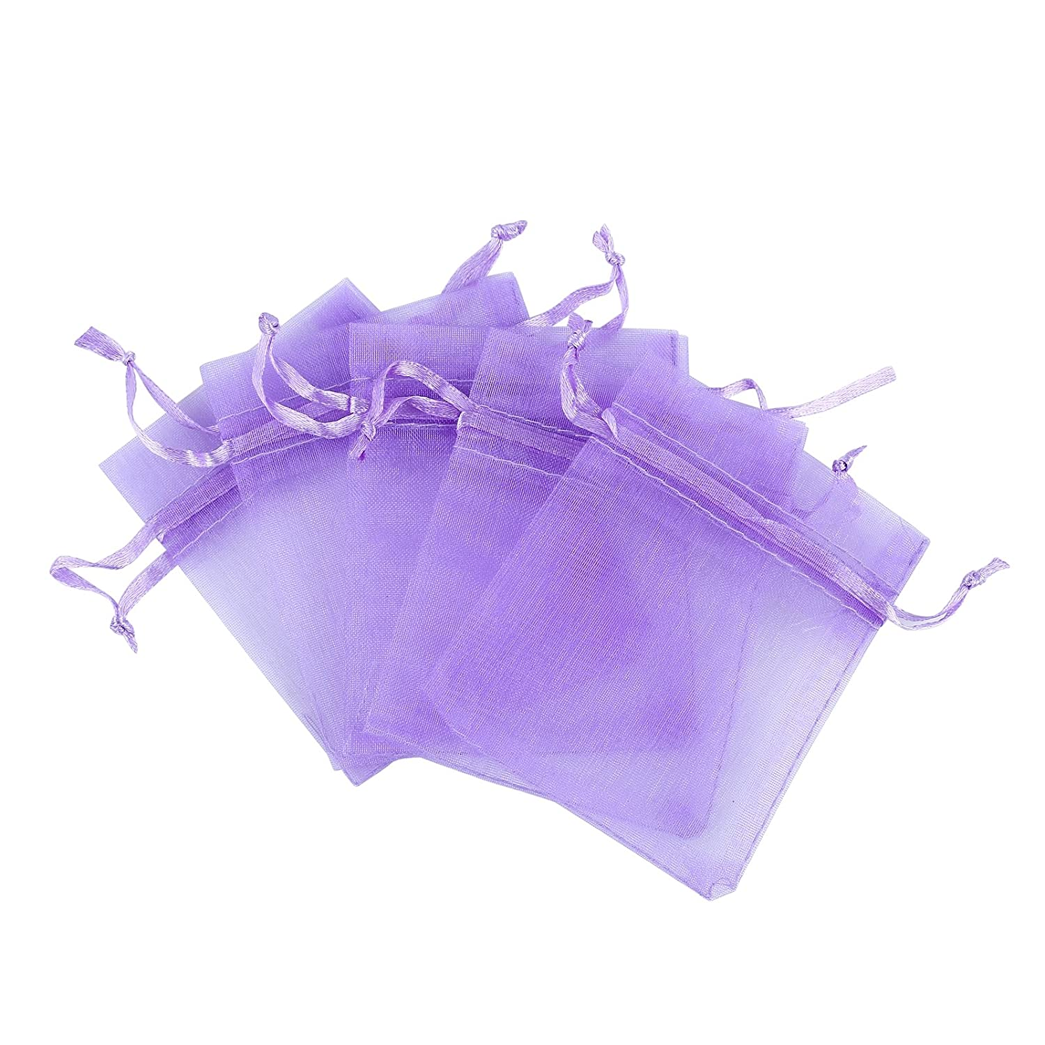 Anleolife 50pcs Purple Lavender Organza Bags 7x5 inch Bushiness Sample Display Bag Wedding Favors Gift Bag Jewlery Candy Bag Velvet Drawstring Pouch(50pcs purple)