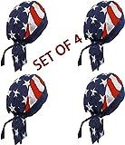 Doo Rag Set of 4 American Flag Chef Cook Food Service Skull Cap Head Wrap