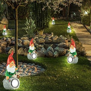 Juego de 6 LED Solar Leuchten Enano exterior pie lámpara Jardín Iluminación figuras: Amazon.es: Iluminación