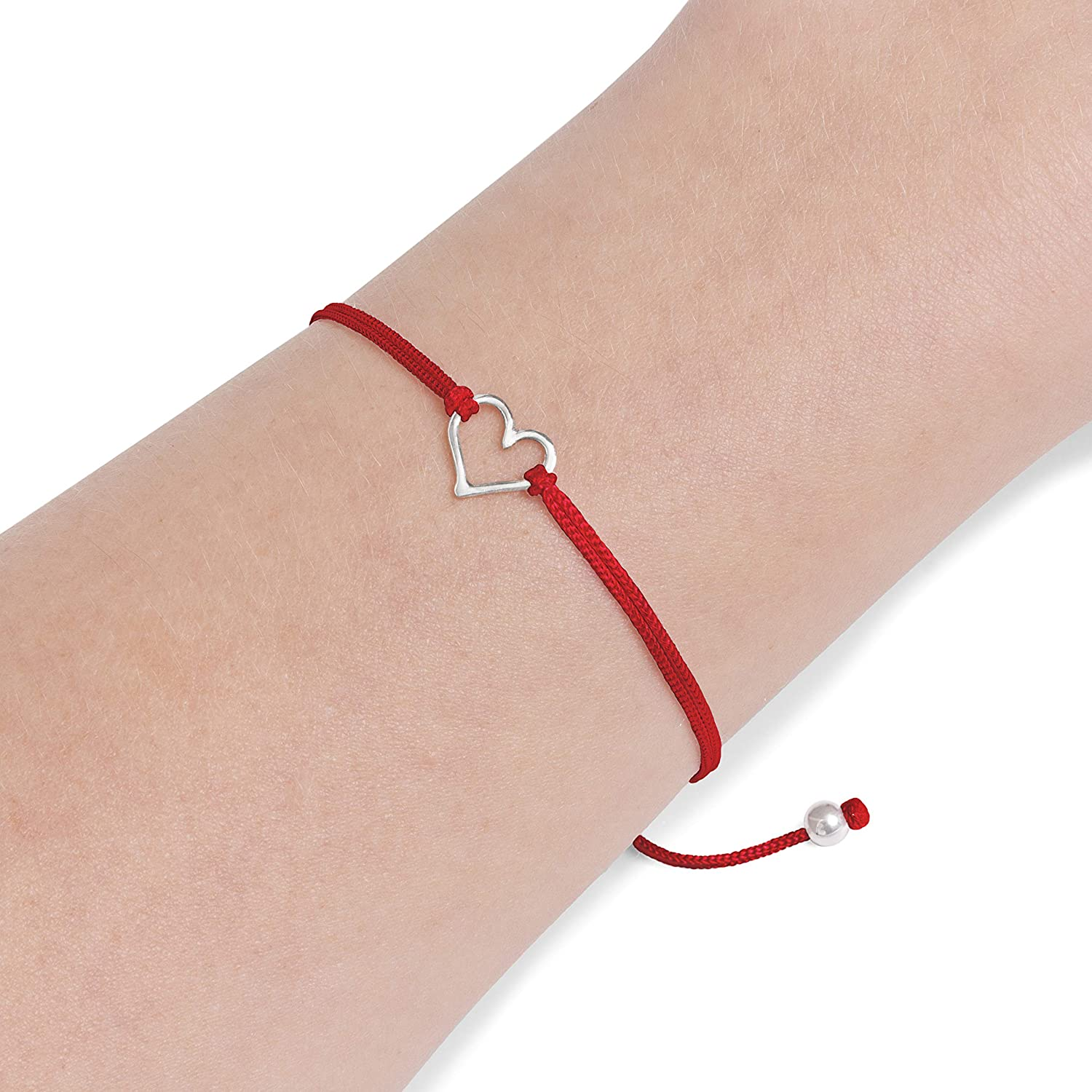 Lucky red cord Tiny silver heart charm Christmas gift for her Friendship bracelet Tiny little heart on holiday card Adjustable bracelet