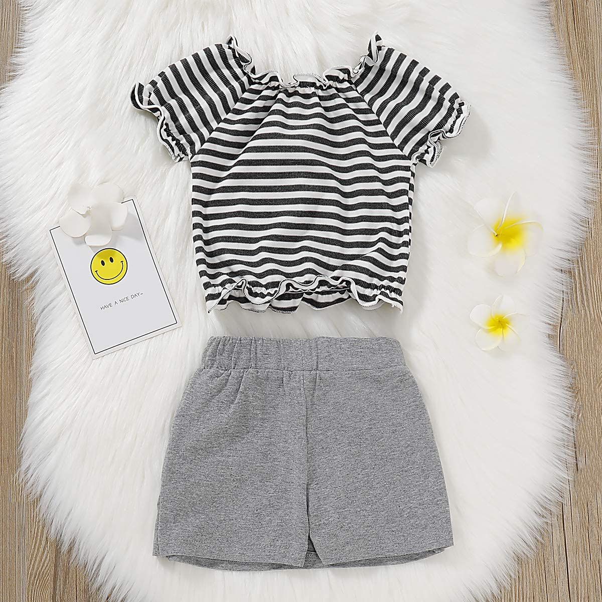 Toddler Baby Girls Camouflage Outfit Black Letter Tops T-Shirt Skirt Dress Shorts Summer Two Piece Clothes Set