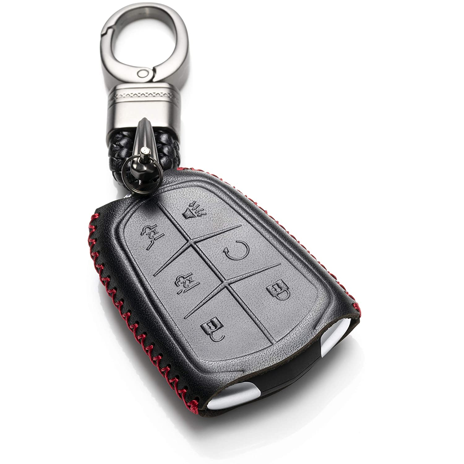 6 Buttons, Black//Red Escalade ESV Vitodeco Genuine Leather Smart Key Keyless Remote Entry Fob Case Cover with Key Chain for 2015-2019 Cadillac Escalade