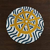 The Home Talk Set of 2 Braided Cotton placemats, Printed Design, 15 INCH Round, Best for Bed-Side Table/Center Table, Dining Table/Shelves- Multicolor