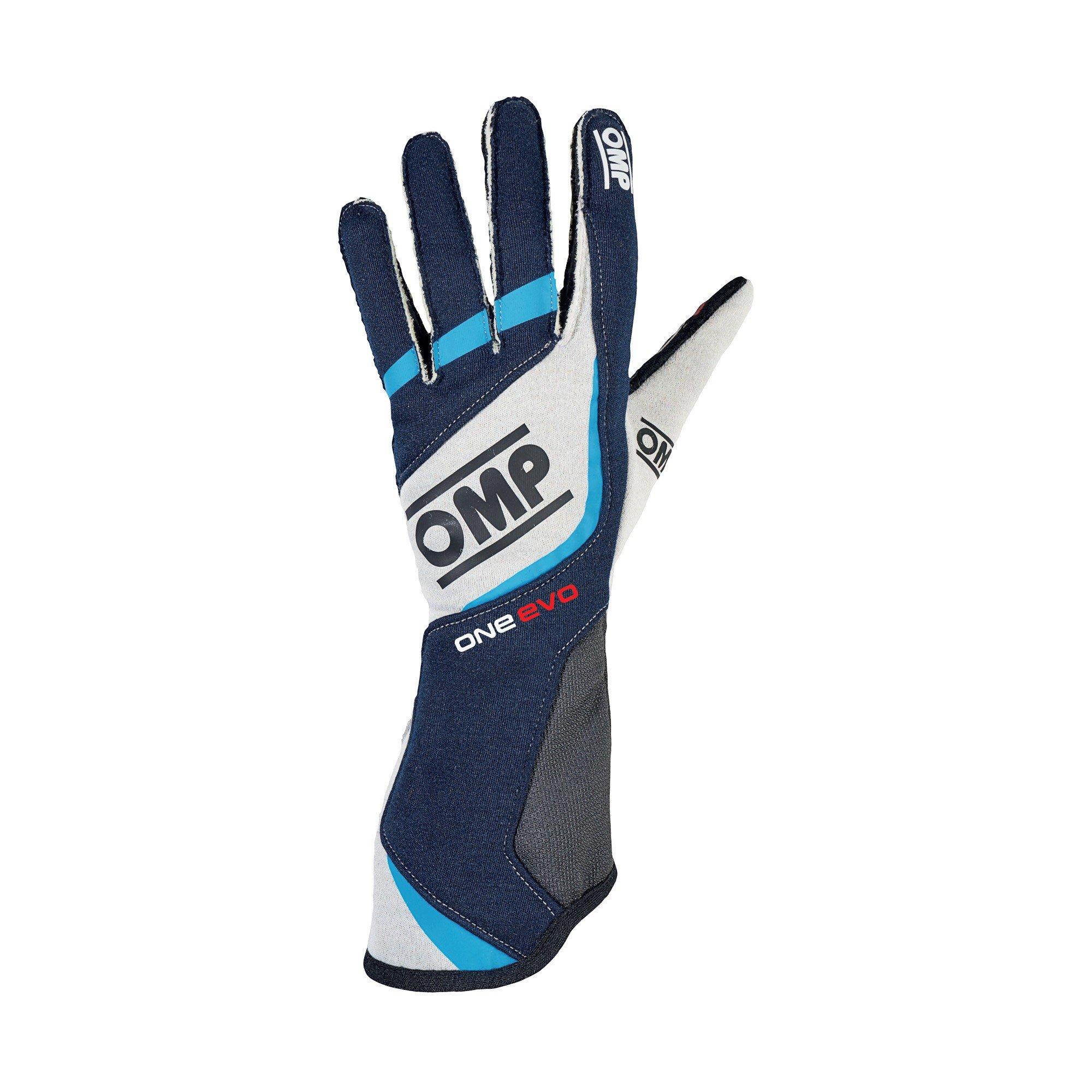 OMP Unisex-Adult ONE EVO GLOVES (Navy blue/white/cyan, XL)