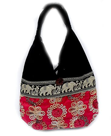 Amazon.com: Thai Bolso Flor Hippie Gypsy Seda Algodón Hobo ...
