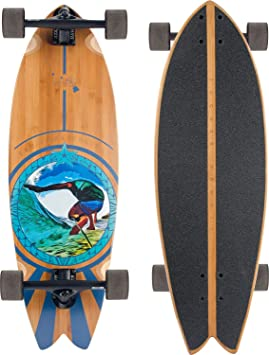 JUCKER HAWAII PAU Hana Monopatín Cruiser Longboard - Black Trucks - Surfcruiser Fishtail Tabla Larga de