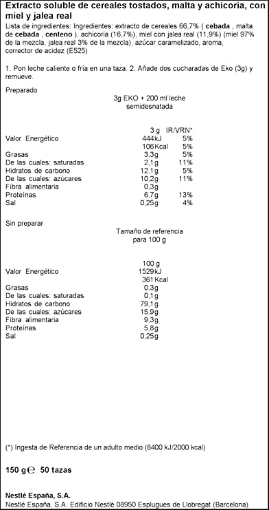 Nestlé EKO Cereales Solubles Sabor Miel y Jalea Real - Paquete de cereales solubles de 6x150g - Total: 900 g: Amazon.es: Alimentación y bebidas