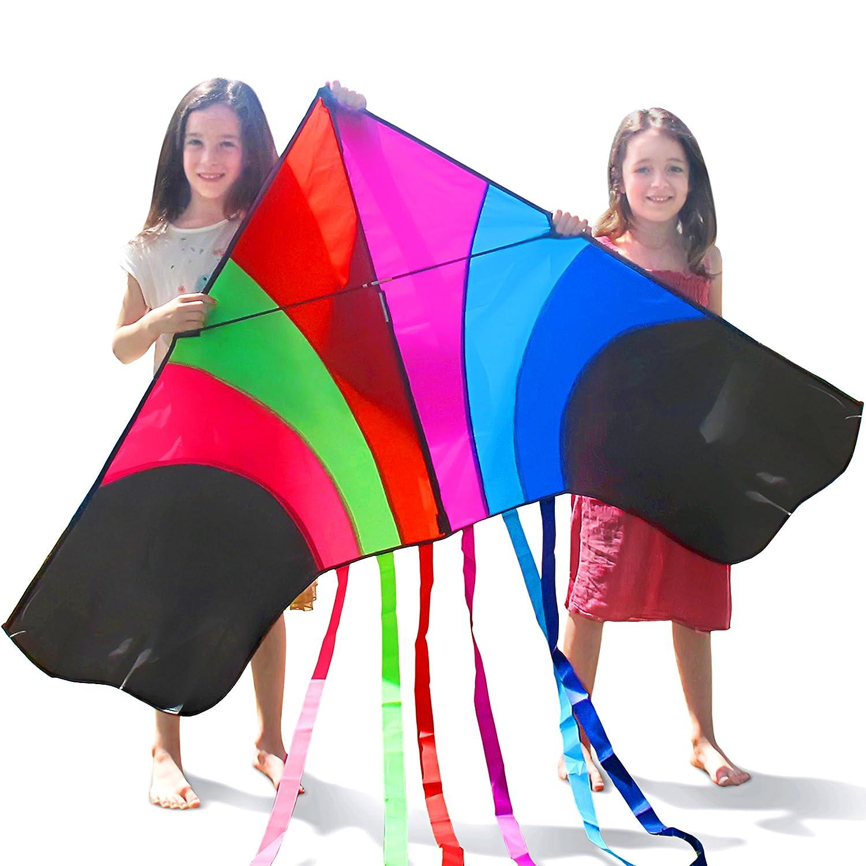 Tomi Kite–Riesiges Regenbogen Drachen, Ideal per Kinder und Erwachsene–Einfach zu fliegen bei starkem Wind oder leichter Brise–1,5 M breit–100 Meter Schnur–6 Schnuren–Hergestellt zur Dauerhaftigkeit T&H products