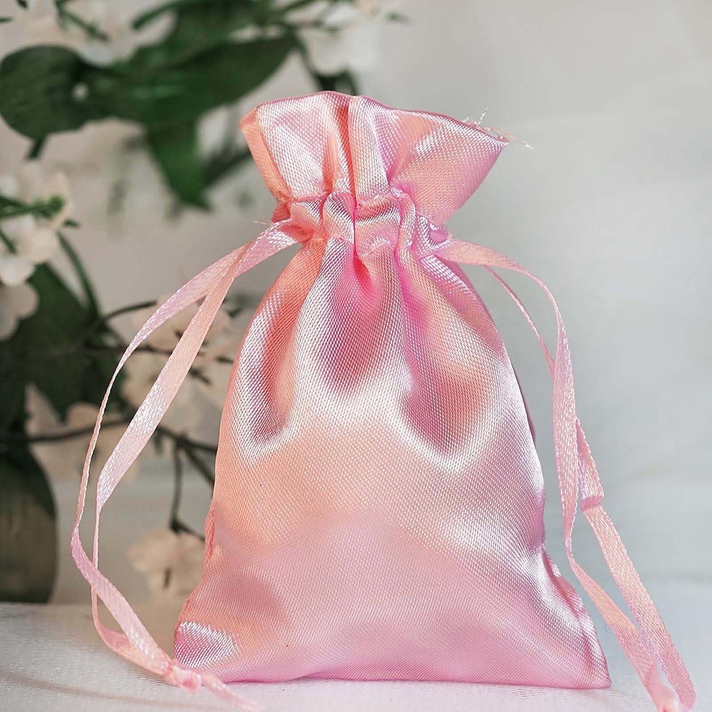 Amazon.com: BalsaCircle 60 pcs 3x3.5-Inch Pink Satin Drawstring Bags ...