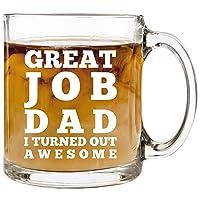 Great Job Dad - 12 oz Glass Coffee Cup Mug - Birthday Christmas Gift Present Ideas...