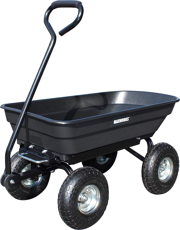 MaxWorks 50500 Heavy Duty Garden Dump Cart with Steel Frame and Pneumatic Wheels, Black