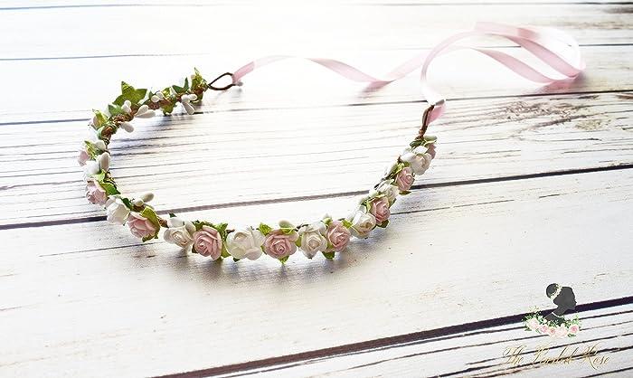 Amazon white pink flower crown flower girl tiara vintage white pink flower crown flower girl tiara vintage wedding pink maternity crown mightylinksfo