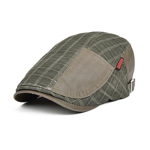 9064a0190c VOBOOM Men s Retro 100% Cotton Patchwork Newsboy Cap Breathable Beret Hat  (Dark Green)