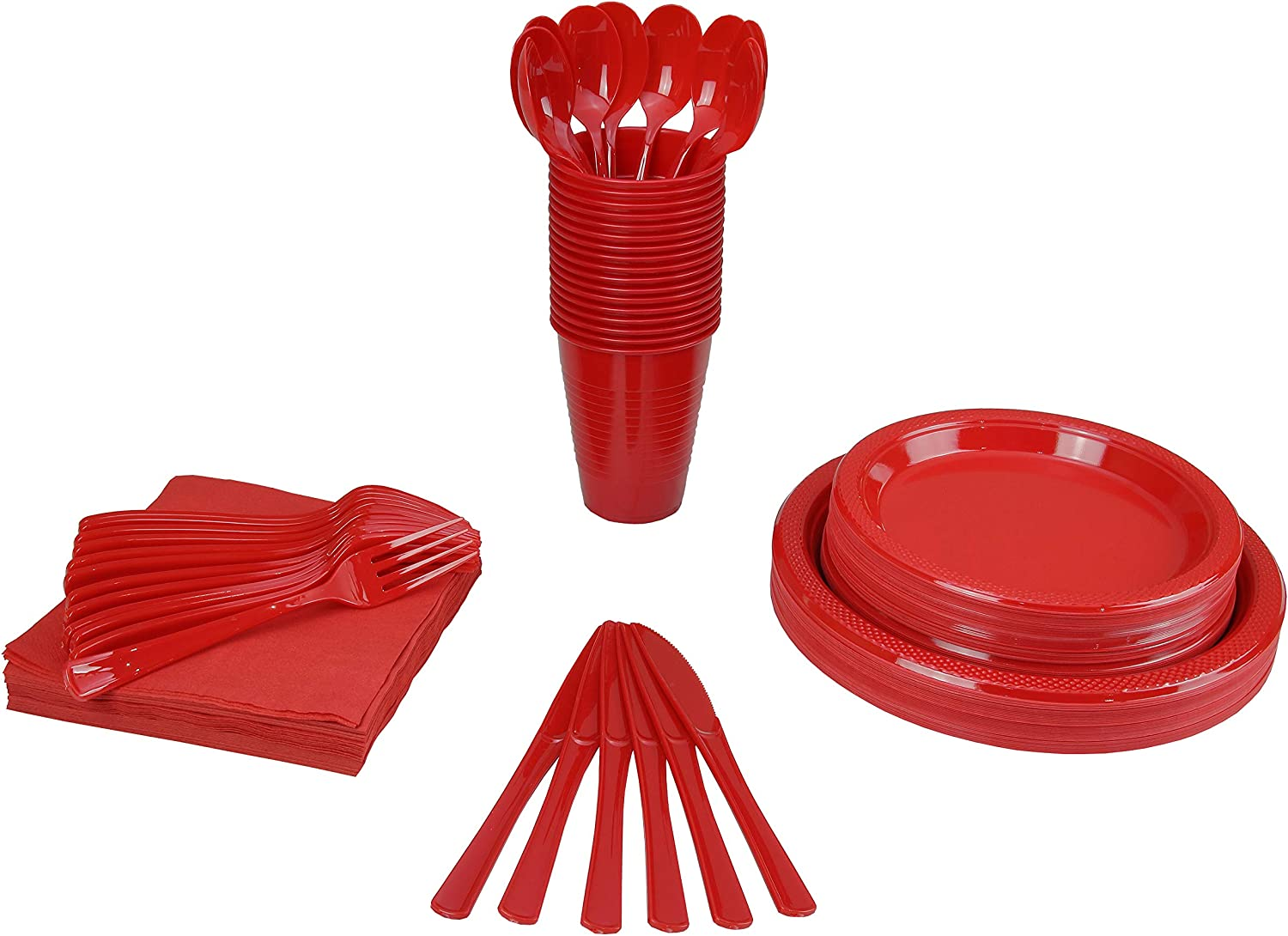 "350 PCS Disposable Tableware Combo Pack INCLUDES: 50 9"" Red Plastic dinner plates 