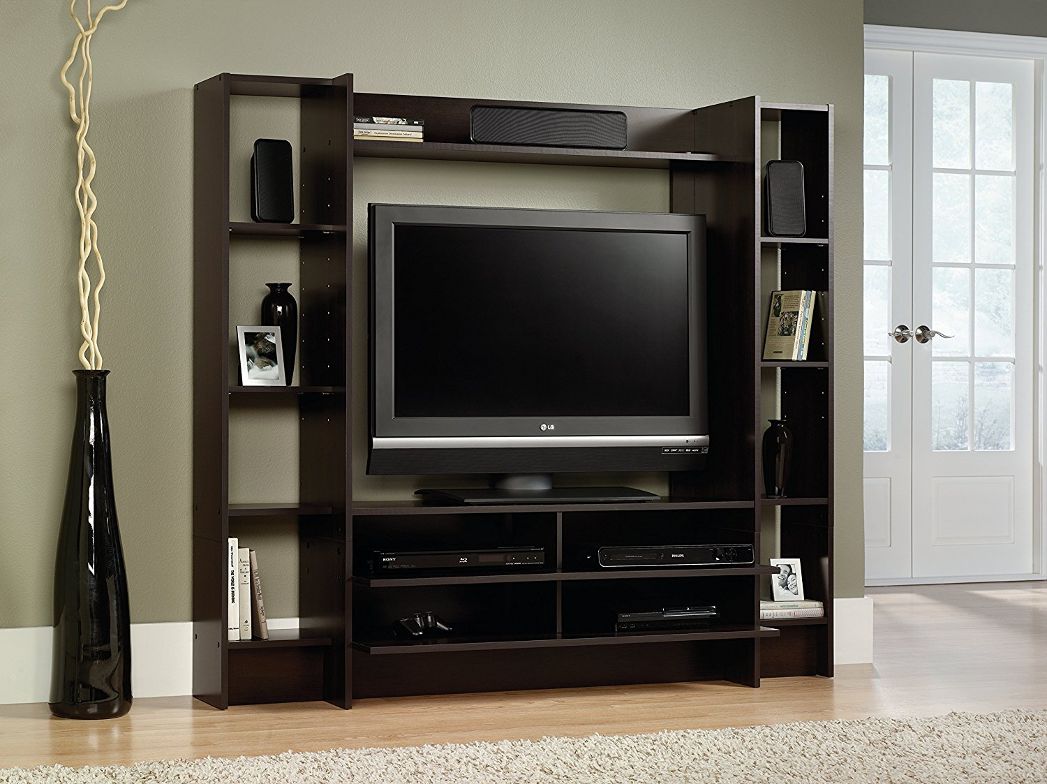 Details about home entertainment center storage cabinet wood tv stand media console furniture
