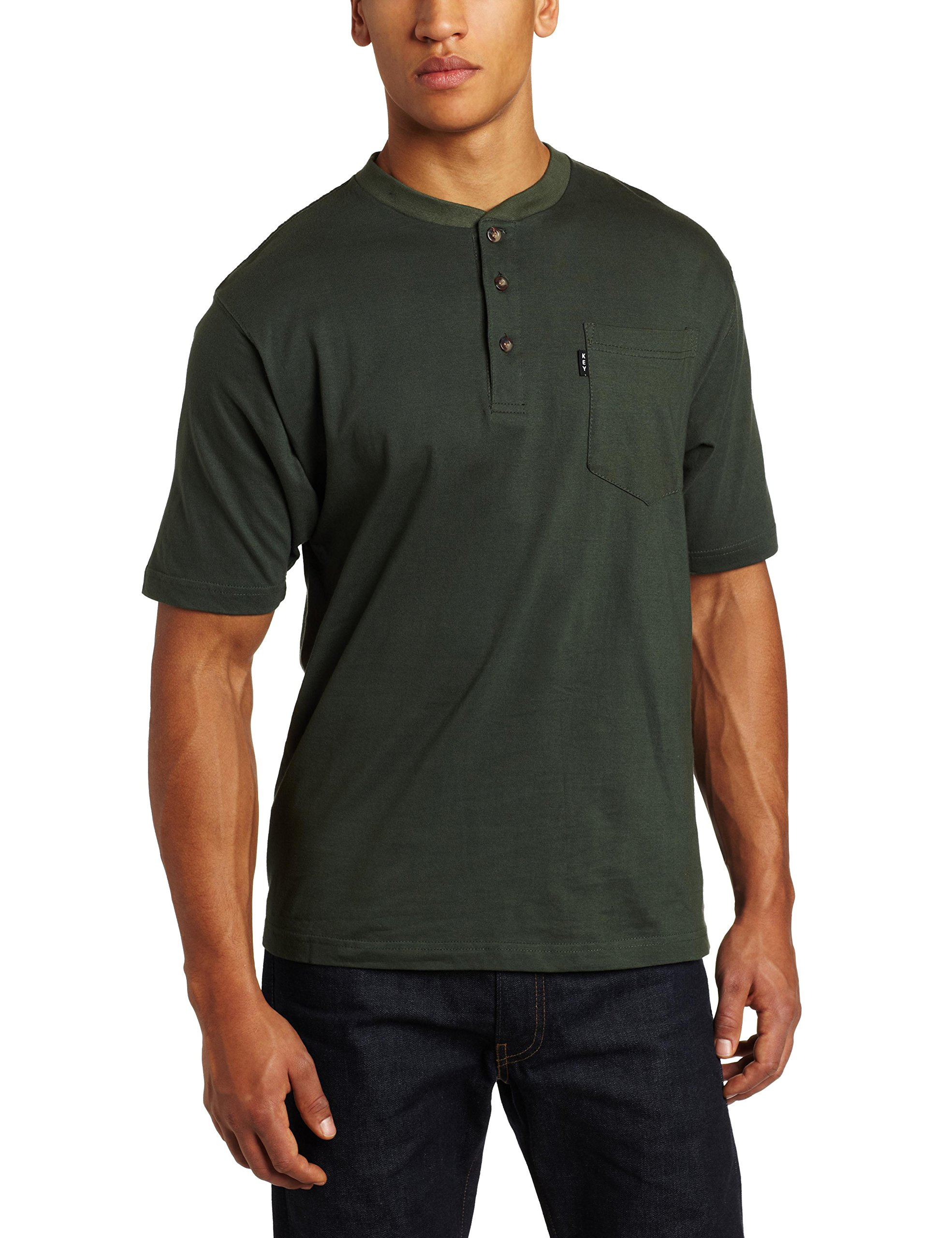 Key Apparel Men's Big-Tall Heavy Weigh Short Sleeve Henley Pocket T, Forest Green, 2X-Large/Tall