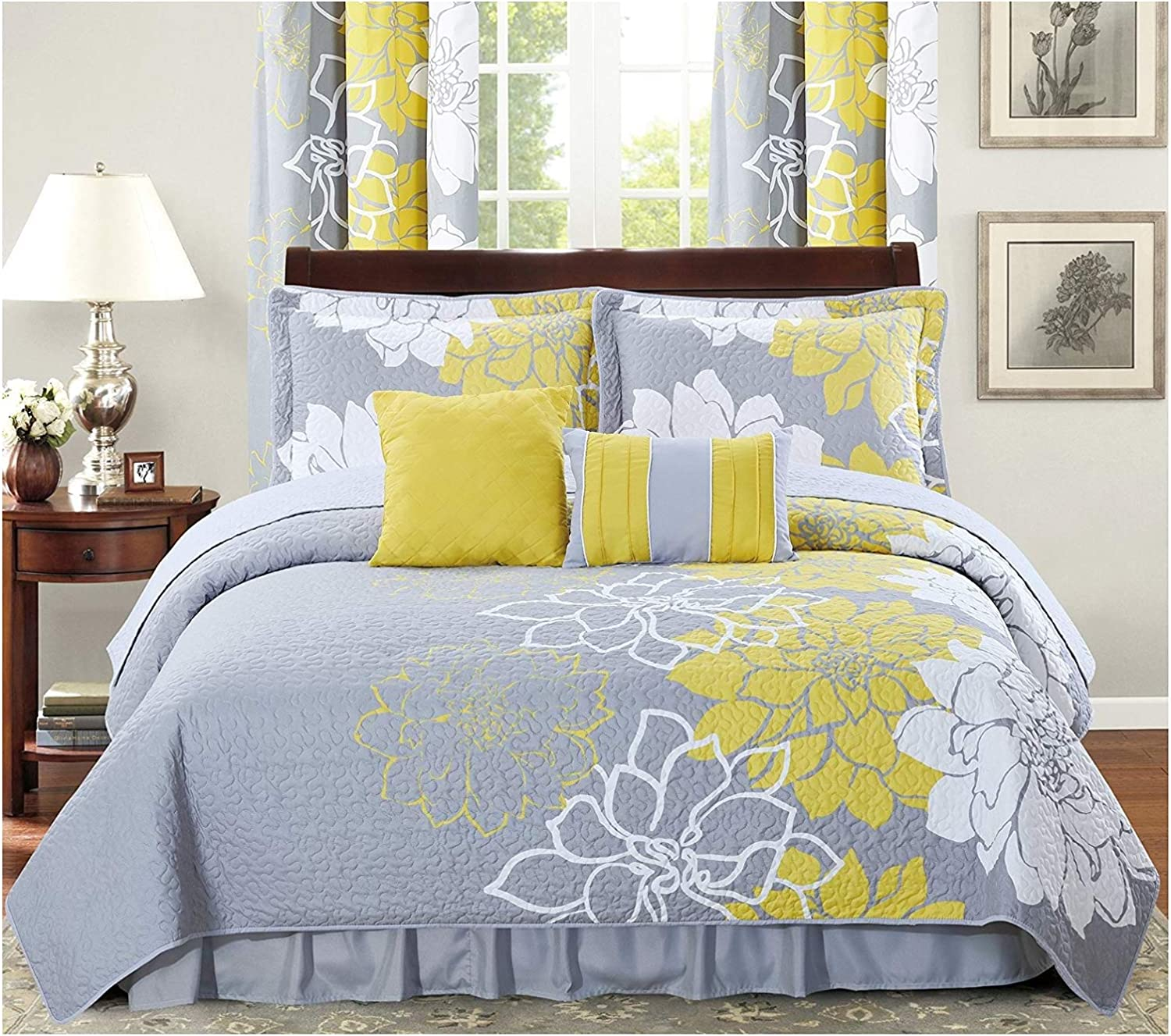 All American Collection New 4pc Flower Printed Reversible Bedspread Set with Dust Ruffle (Twin Size, Yellow/Grey)