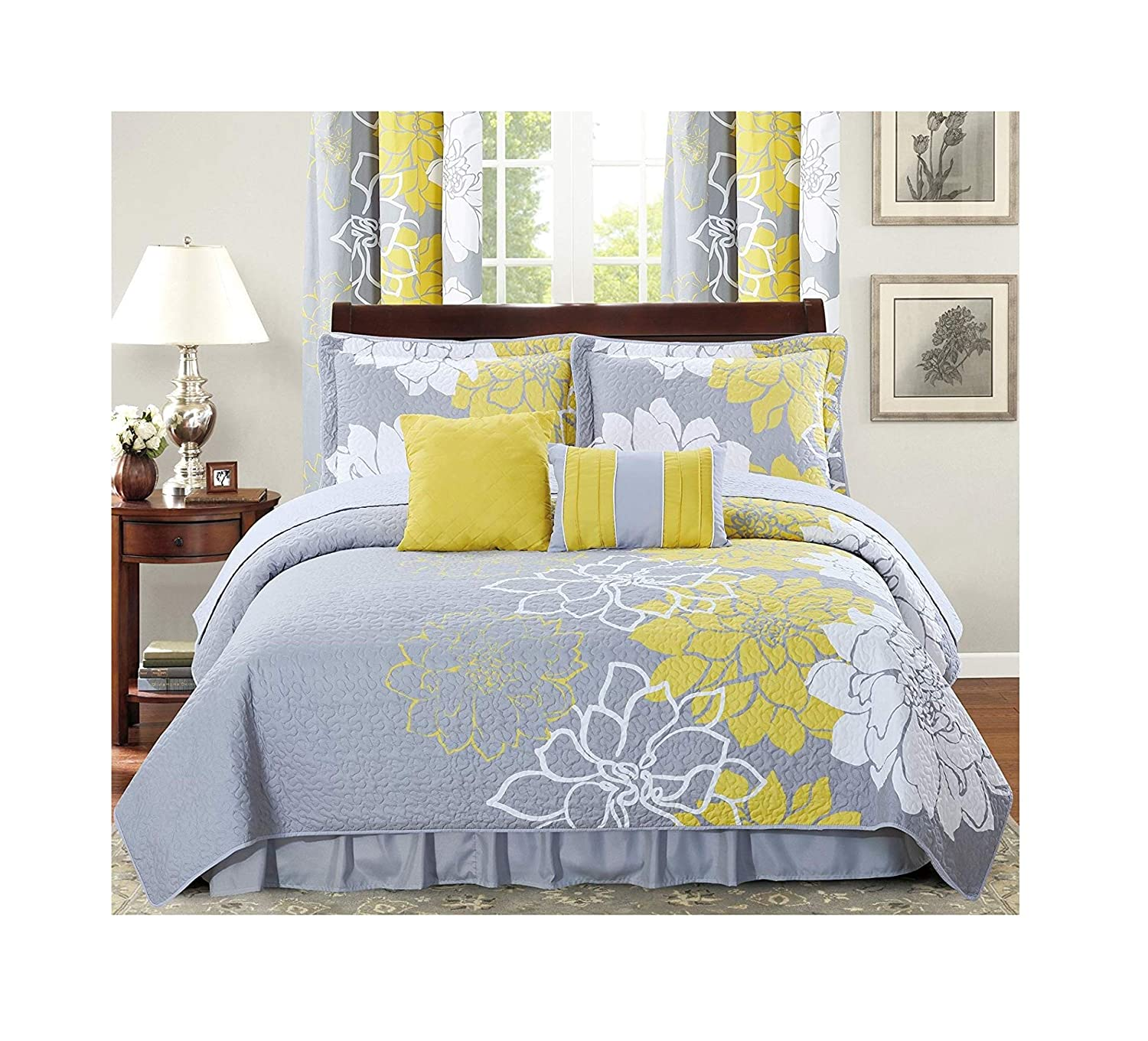 All American Collection New 4 Piece Printed Reversible Bedspread Set with Dust Ruffle (Yellow/Grey, Twin