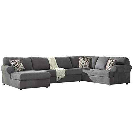 Signature Design by Ashley Jayceon 3-Piece RAF Sofa Sectional in Steel Fabric