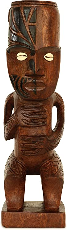 Vintage Decor Wooden Tribal Face Handmade carved Wood Statue Sculpture 15 Tall