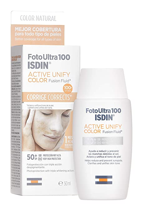 FotoUltra 100 ISDIN Active Unify Color SPF 50+ - Protector solar facial, Aclara y unifica el tono de piel, 50 ml: Amazon.es
