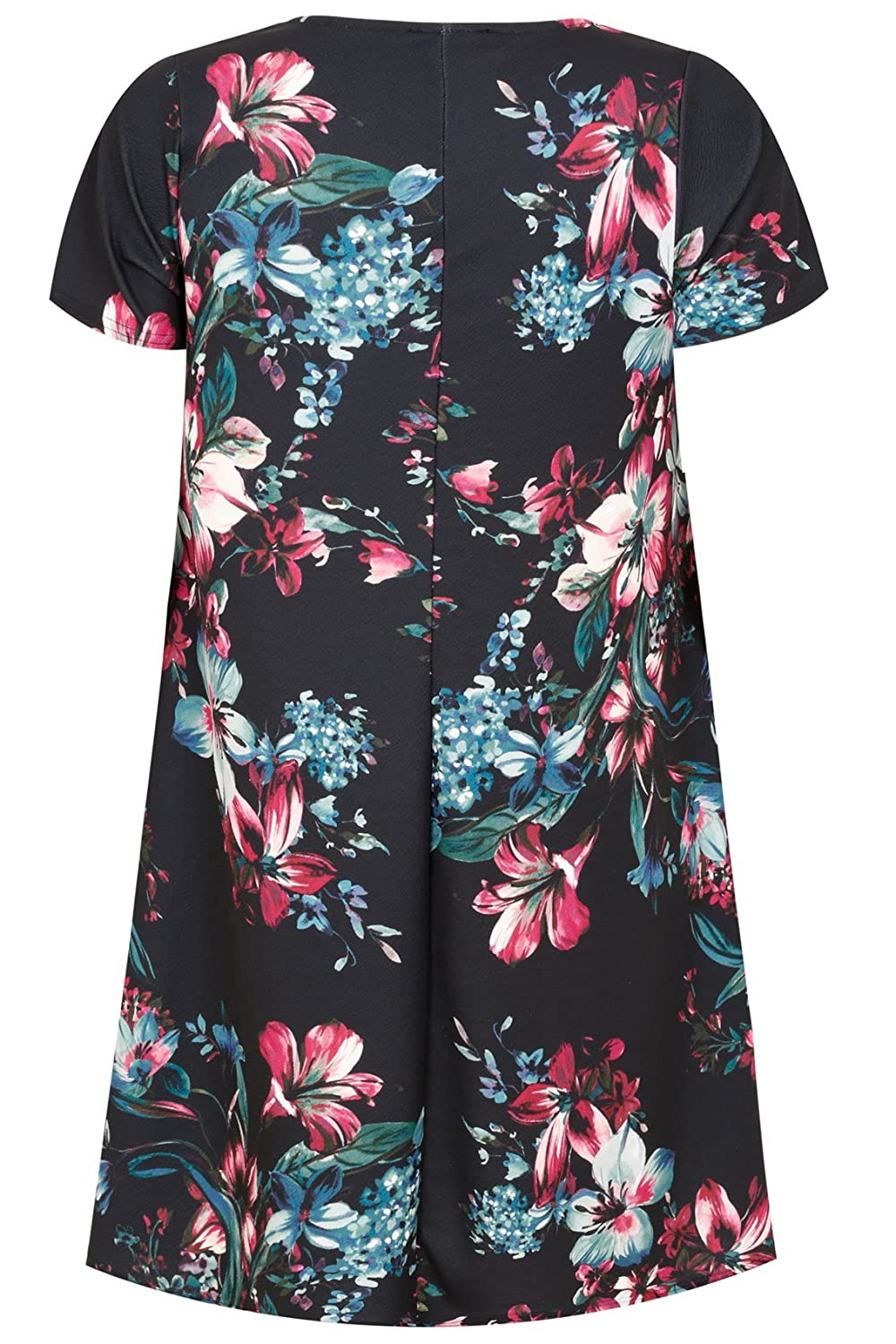 Yoursclothing Plus Size Womens Black, Pink & Teal Floral Print Swing Dress