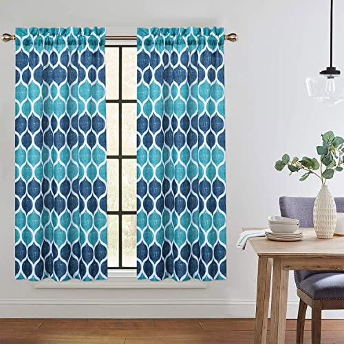 CAROMIO Cafe Curtains 45 Inch Length, Geometric Printed Short Kitchen Tier Curtains for Small Windows Half Window Curtains for Bathroom, Navy Teal