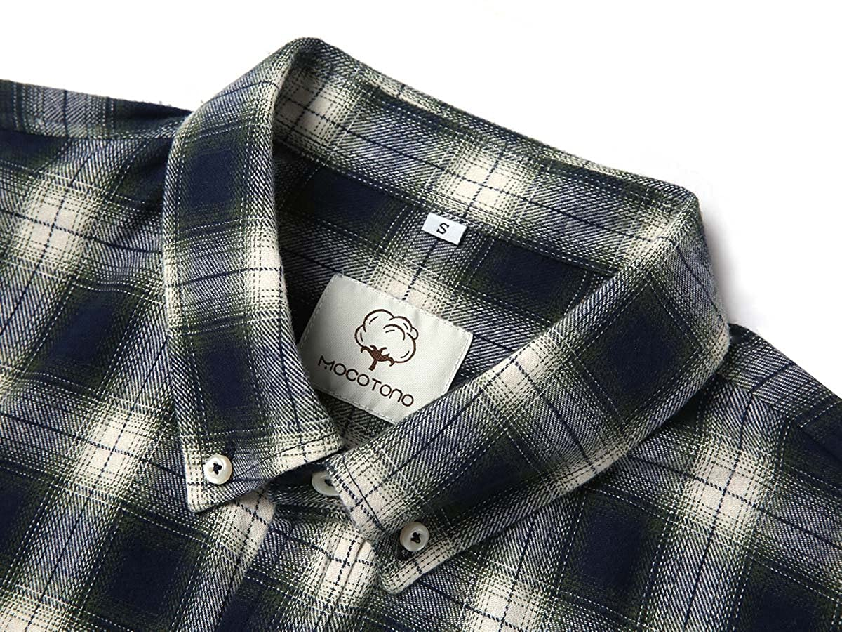 Mens Long Sleeve Flannel Plaid Checkered Button Down Casual Dress Shirts Green3 XX-Large