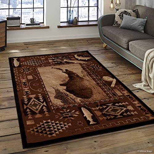 Allstar 8×10 Espresso and Mocha Cabin Rectangular Accent Rug with Ivory Wildlife Bear Catching Salmon Design 7 6 x 10 5