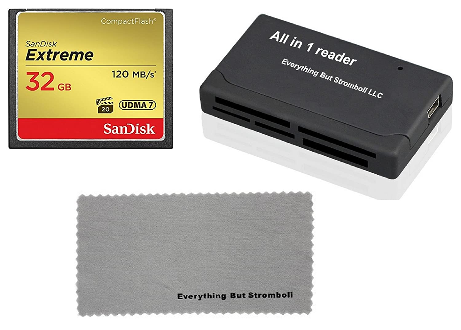 SanDisk Extreme 32GB CompactFlash CF Memory Card for Nikon D300, D300S, D810, Digital DSLR Cameras HD UDMA 7 (SDCFXSB-032G-G46) with Everything But Stromboli Combo Microfiber Cloth and Combo Reader EBS 32G_CF_Extreme_EBSMFC