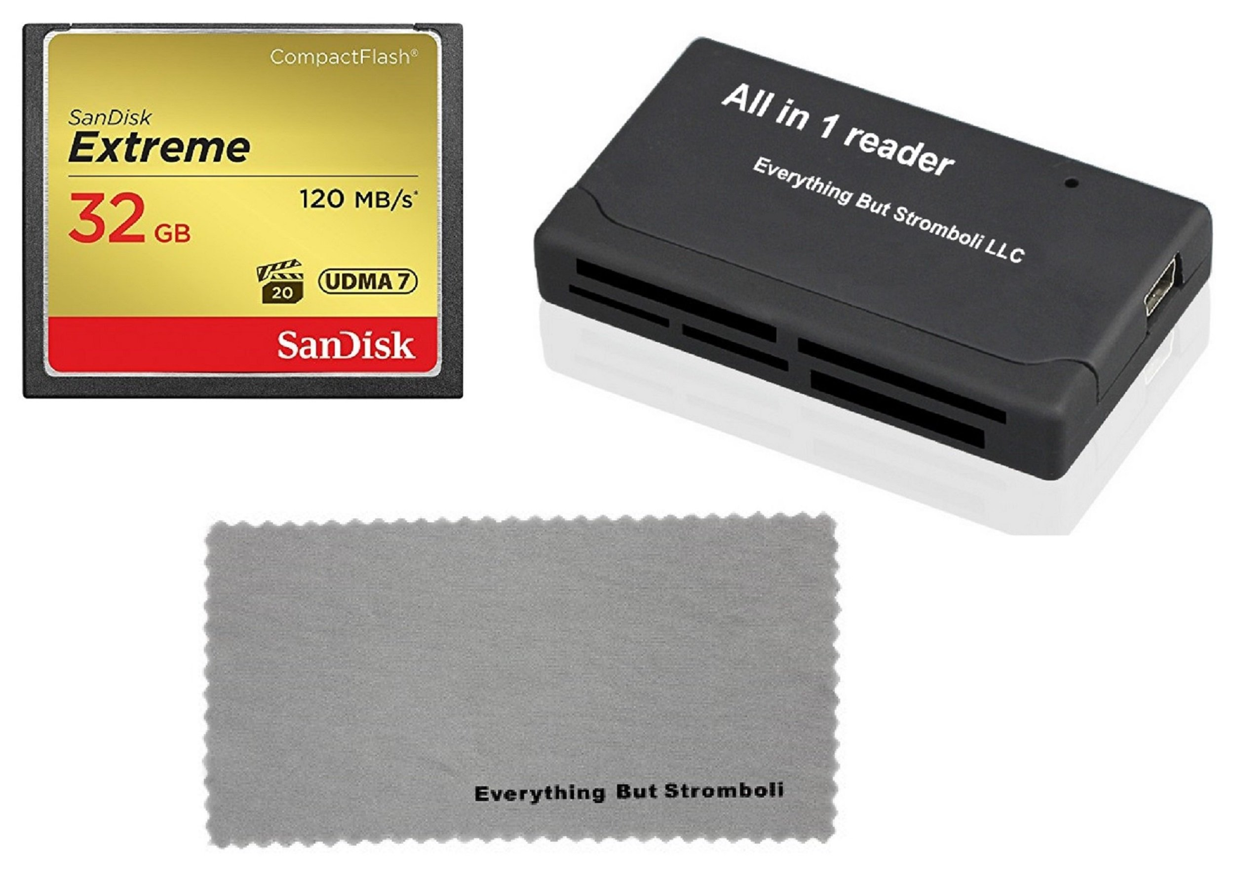 SanDisk Extreme 32GB CompactFlash Memory Card works with Canon EOS 7D Mark II Digital DSLR Camera HD UDMA 7 (SDCFXSB-032G-G46) with Everything But Stromboli Combo Microfiber Cloth and Combo Reader