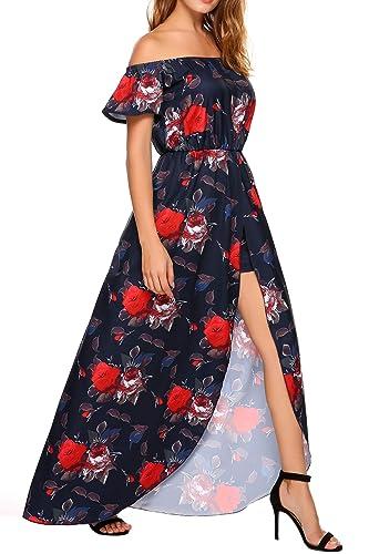 5968296220b1 SE MIU Women s Off Shoulder Short Sleeve Split Jumpsuit High Low Floral  Maxi Romper Dresses at Amazon Women s Clothing store