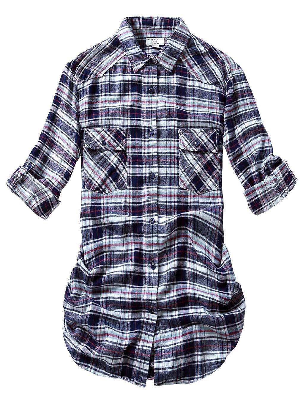 2022 Check 6 Match Women's Long Sleeve Flannel Plaid Shirt