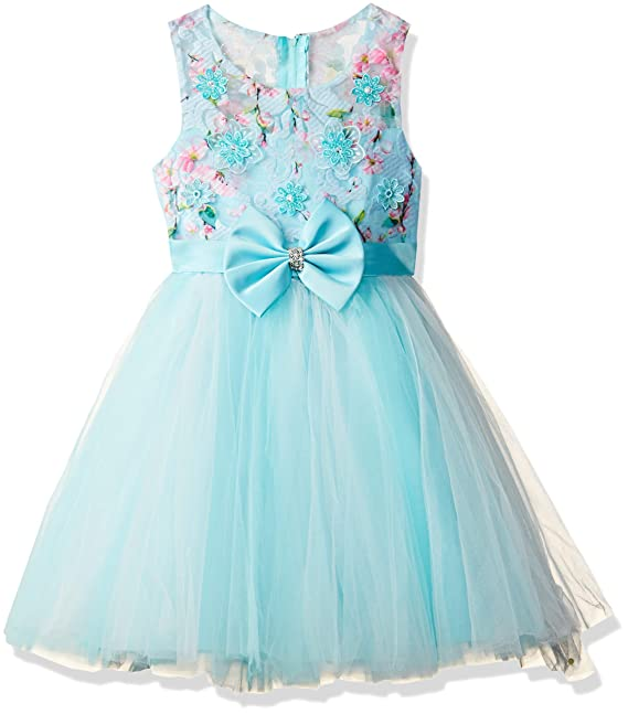 bae9fde69cbf5b Si Rosa by Hopscotch Girls Cotton Beautiful Floral Applique Sleeveless Dress  in Color Blue for Age