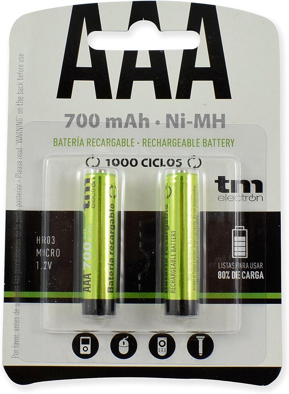 TM Electron TMVH-AAA700H - Pack de 2 Pilas Recargables, Color ...