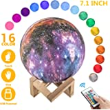OxyLED Moon Lamp, 16 Colors 7.1 Inch 3D Print LED Star Moon Light Dimmable with Stand Remote Touch Control and USB Rechargeable, Galaxy Night Light for Kids Lover Friends Birthday