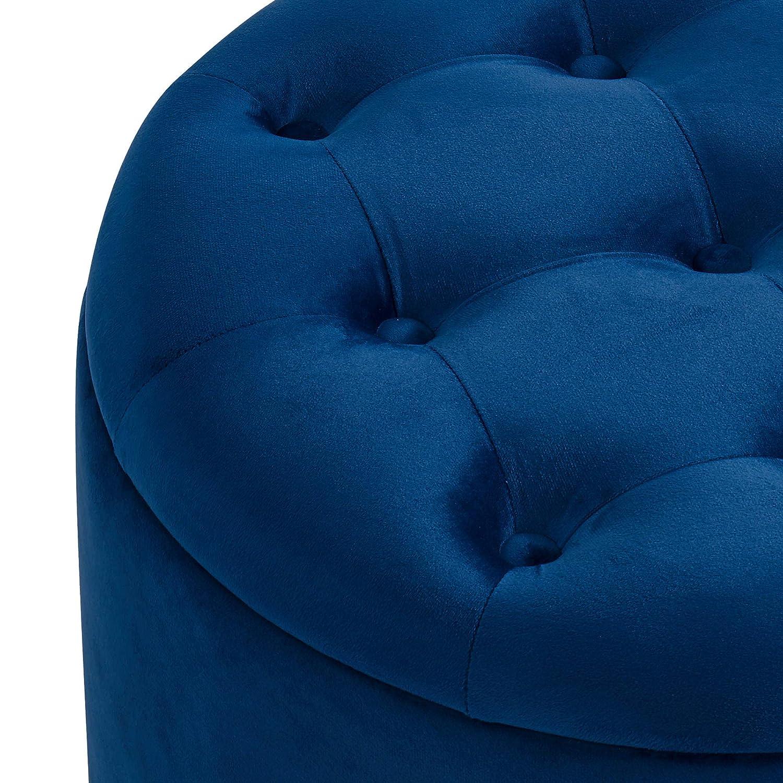 Tufted Velvet Round Storage Ottoman Blue