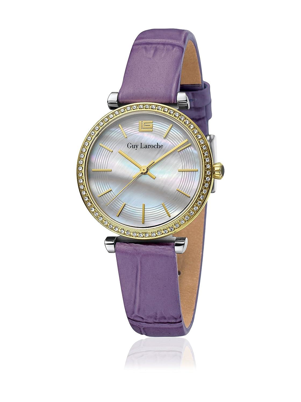 GUY LAROCHE Damenuhr - L2014-02 - Edelstahl gold - Lederband violett