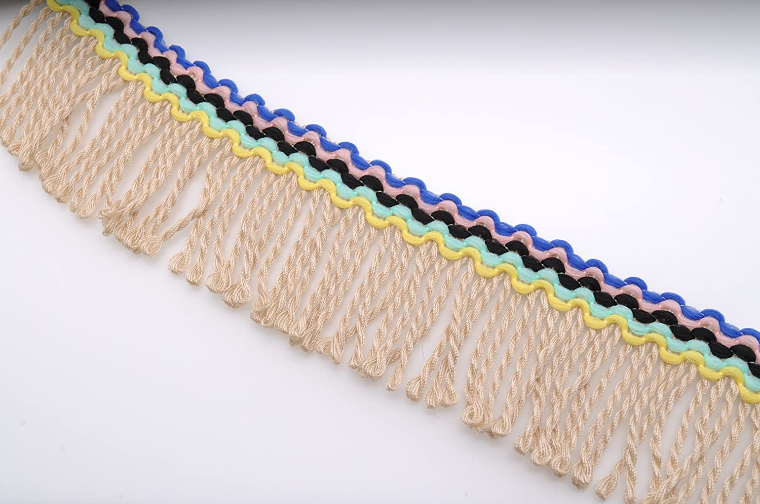 Marsha Q 5.5cm Wide Multicolor Tassel Fringe Trim Rayon Yarn Lace Ribbon 5 Yard for Sewing Crafts Apparel Design Upholstery Couture and Most Decoration Projects