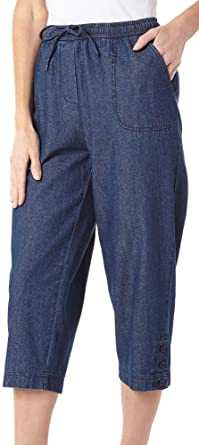 Cathy Daniels Womens Solid Pull-On Denim Capris at Amazon Women's ...